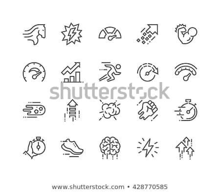 velocímetro · linha · ícone · teia · móvel · infográficos - foto stock © rastudio