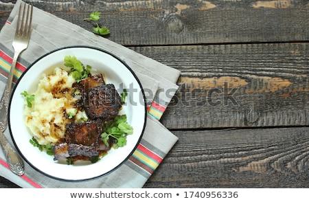 krumpli · disznóhús · borda · tányér · bab · sekély - stock fotó © digifoodstock