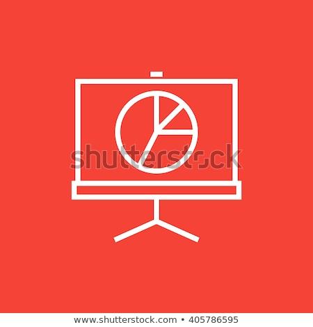 Projektor képernyő vonal ikon sarkok háló Stock fotó © RAStudio