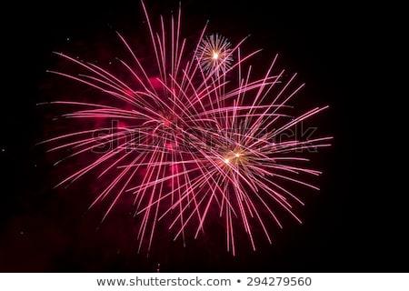 Hosszú expozíció tűzijáték fekete égbolt buli fény Stock fotó © Frankljr