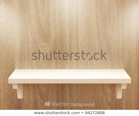3d isolated Empty shelf for exhibit on wood background stock photo © teerawit