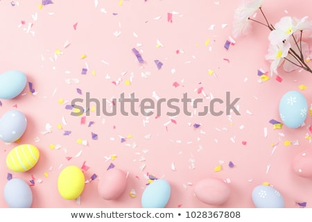 art easter background with easter eggs and spring flowers stock photo © konstanttin
