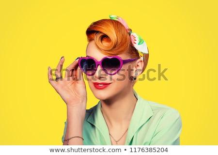 Porträt · schönen · Brünette · Dame · posiert · rock - stock foto © deandrobot
