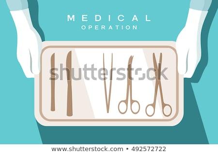Foto stock: Médico · bisturi · mão · branco · isolado · hospital