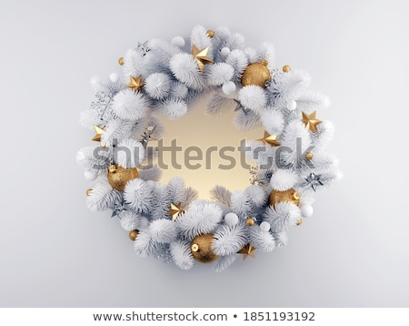 Snowy white frosted Christmas wreath Stock photo © ozgur