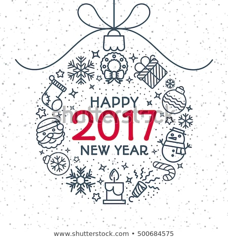 set of christmas and happy new year line flat design icons stock photo © decorwithme