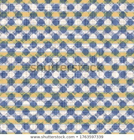 Kockás kék citromsárga szövet textúra koszos Stock fotó © stevanovicigor