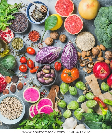 Variëteit rauw voedsel vruchten kip vlees vers Stockfoto © M-studio