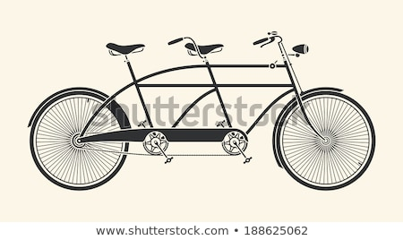 ヴィンテージ 実例 タンデム 自転車 白 ベクトル ストックフォト © NikoDzhi