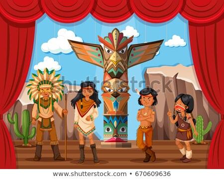 Native americans roleplay on stage Stock photo © bluering