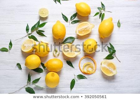 Friss lédús citromok fehér fából készült csoport Stock fotó © Digifoodstock