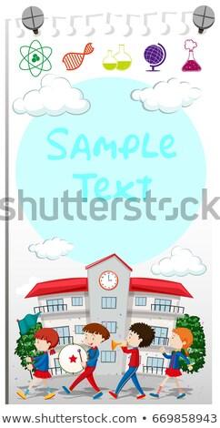 Paper template with school band marching Stock photo © bluering