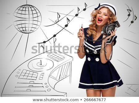 marinheiro · retro · foto · elegante · atraente · menina - foto stock © fisher
