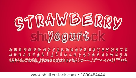 Number 3 Strawberry font. Red Berry lettering three alphabet. Fr Stock photo © popaukropa