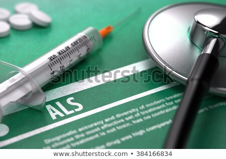 síndrome · impresso · diagnóstico · médico · verde · estetoscópio - foto stock © tashatuvango