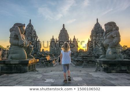 Buddhista gyermek templom illusztráció vicces vallás Stock fotó © adrenalina