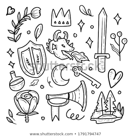 Sticker design for prince and dragons Stock photo © bluering