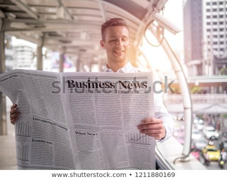 üzletember olvas újság kívül hírek híd Stock fotó © IS2