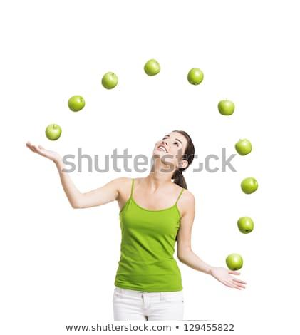 girl balancing apple Stock photo © IS2