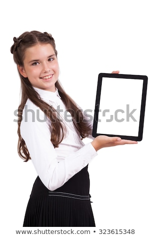 Schoolmeisje tablet handen naar camera glimlachend Stockfoto © Traimak