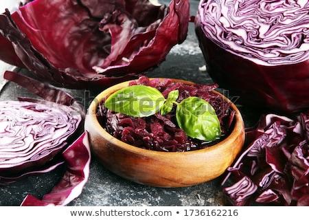 Piros káposzta tál fehér fából készült saláta Stock fotó © Digifoodstock