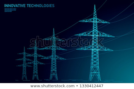 haute · tension · vecteur · illustration · isolé · blanche · énergie - photo stock © tracer