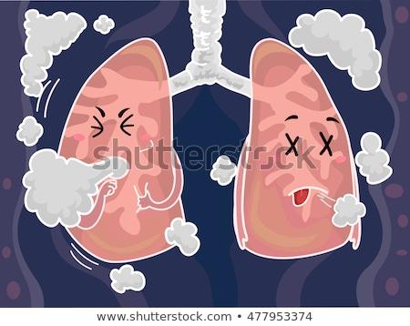 Mascot Lungs Smoke Cough Stock photo © lenm