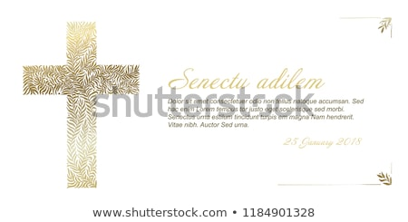 Funeral card template with golden cross made from leafs  Stock photo © orson