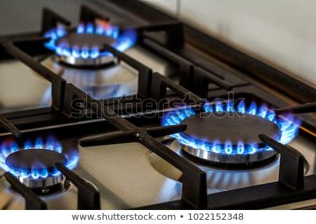 Brennen schwarz Küche Gas Herd Stock foto © OleksandrO