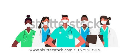 Медик молодые позируют изолированный белый женщину Сток-фото © hsfelix