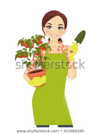 joven · hortalizas · naturaleza · diversión · sombrero - foto stock © is2