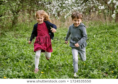 Children playing in field of flowers Stock photo © IS2