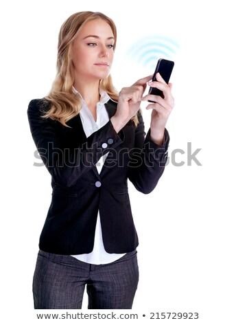 Gens d'affaires cellulaires affaires parler souriant profile Photo stock © IS2