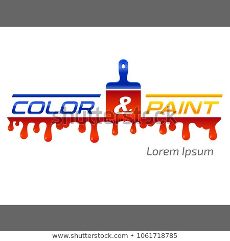 color & paint - painter sign with paint bruch and color drops Stock photo © djdarkflower