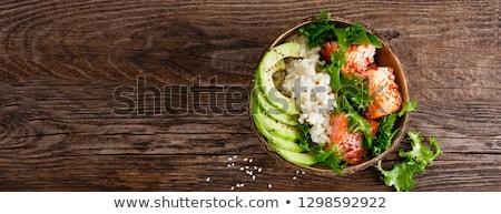Salada salmão abacate madeira almoço fresco Foto stock © M-studio