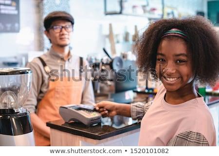 Kettő férfi személyzet dolgozik pult kávéház Stock fotó © wavebreak_media