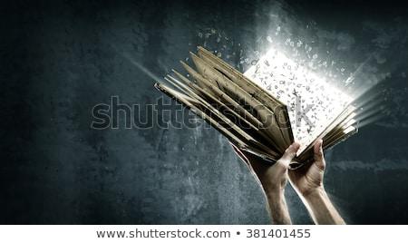 Boek fantasie typografie illustratie Open boek woord Stockfoto © lenm