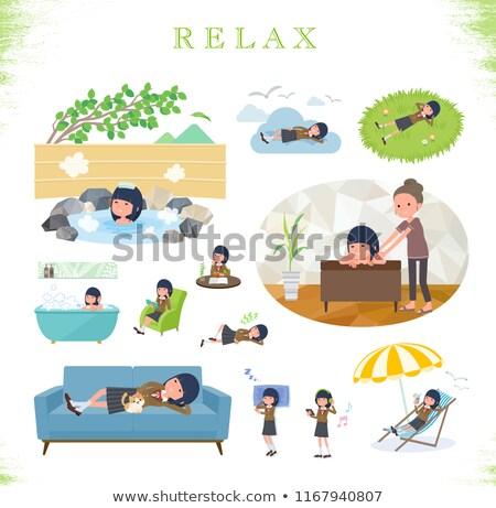 school girl Brown Blazer_relax Stock photo © toyotoyo