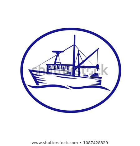 Commercial Fishing Boat Oval Woodcut Stock photo © patrimonio