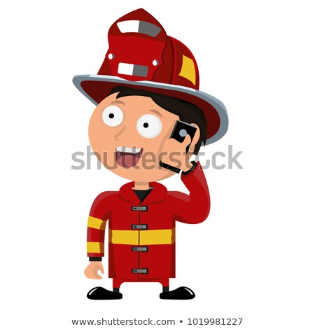 Man Fire Fighter Phone Call 911 Illustration Stock photo © lenm