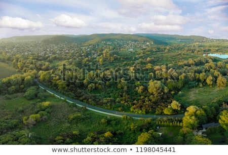 Evening Drone Aerial Picture From A Hungarian Landscape Near The Lake Balaton Stock photo © Digoarpi