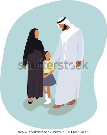 Müslüman aile birlikte mülteci insanlar Stok fotoğraf © robuart