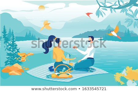 Man and Woman Sit on Blanket Feeding Bird Vector Stock photo © robuart