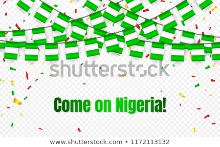 Nigeria garland flag with confetti on transparent background, Hang bunting for celebration template  Stock photo © olehsvetiukha