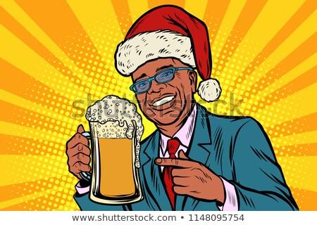 Noël nouvelle année homme mug bière mousse Photo stock © rogistok
