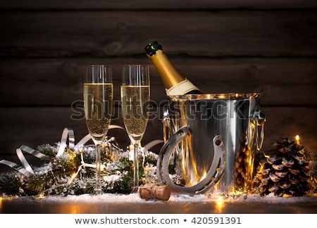 sparkler with champagne glasses   happy new year 2019 stock photo © zerbor