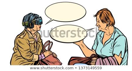 Gespräch älter Frauen Wirklichkeit Gläser Stock foto © studiostoks