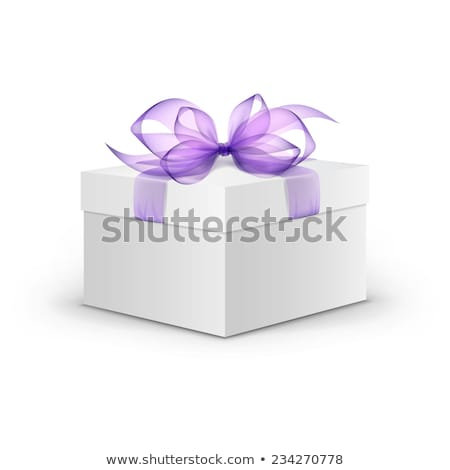 Blanche coffret cadeau violette ruban lavande bouquet Photo stock © Illia