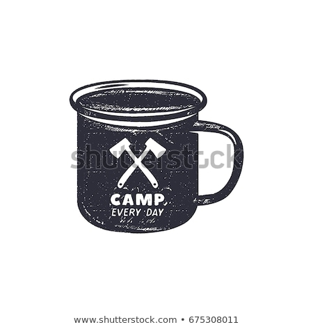 vintage hand drawn camping adventure shapes hiking symbols   pennant knife matches axe and other stock photo © jeksongraphics