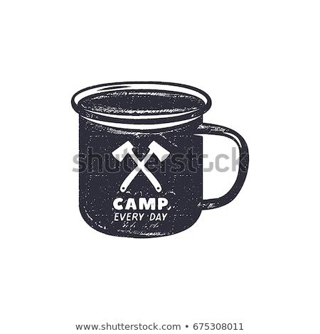 Vintage dibujado a mano camping aventura formas senderismo Foto stock © JeksonGraphics